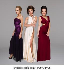 Cute three women in gorgeous dress