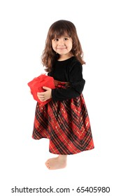 Cute three year old little girl dressed up in a fancy dress  holding a red giftbox standing barefoot on a white background