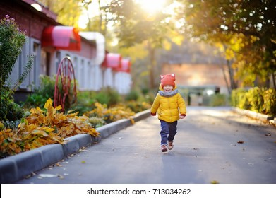 Cute toddler boy playing outdoors at autumn day. Happy little child running home after kindergarten