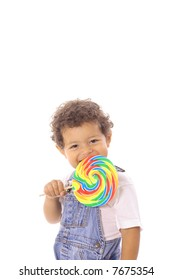 cute toddler with lollipop