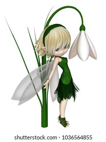 Cute toon blonde snowdrop fairy in a green leafy dress standing by a spring snowdrop flower, digital illustration (3d rendering)