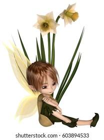 Cute toon daffodil fairy boy sitting next to spring daffodil flowers, digital illustration (3d rendering)