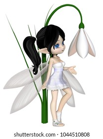 Cute toon dark haired snowdrop fairy in a white snowflake dress standing by a spring snowdrop flower, digital illustration (3d rendering)