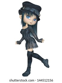 Cute toon girl wearing a blue hat, dress and stockings, walking along, 3d digitally rendered illustration