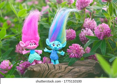 cute trolls on summer floral meadow. hasbro trolls. concept of children's games, fun, toys