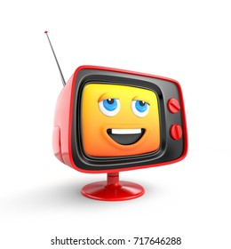 Cute TV with smiley face emoticon. 3d illustration