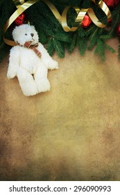 Cute vintage teddy bear . Retro christmas decoration