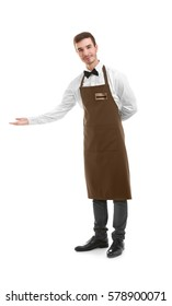 Cute waiter welcoming you on white background