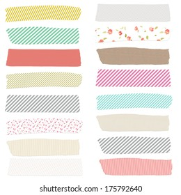 Cute Washi Tape Strips For Digital Scrapbooking and Design