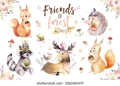 Cute watercolor bohemian baby cartoon rabbit and bear animal for kindergarten, woodland deer, fox and owl nursery isolated bunny forest illustration for children. Bunnies animals.