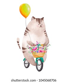 Cute watercolor cat riding bicycle