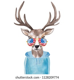 Cute watercolor deer in sunglasses with USA flag print