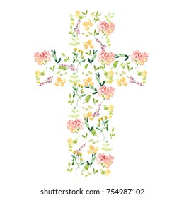 Cute Watercolor Flower Cross for Easter or Christening Invitation Decoration