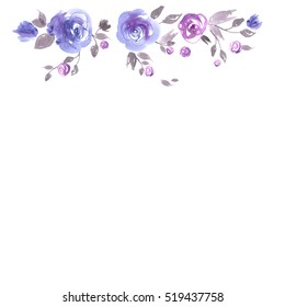 Cute watercolor flower frame. Background with blue roses. Invitation. Wedding card. Birthday card.