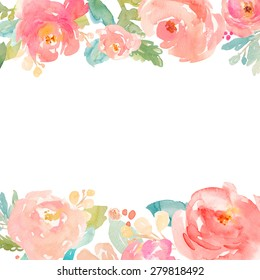 Cute Watercolor Flowers Background With Painted Pink Peonies
