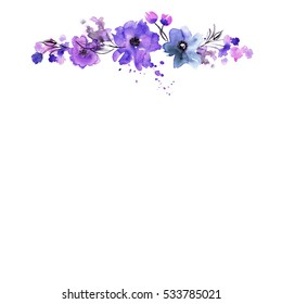 Cute watercolor hand painted flower frame. Invitation. Wedding card. Birthday card.
