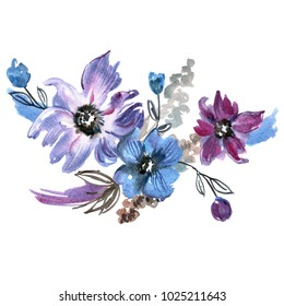 Cute watercolor hand painted flowers. Invitation. Wedding card. Birthday card