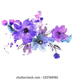 Cute watercolor hand painted flowers. Invitation. Wedding card. Birthday card.