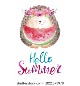 Cute watercolor hedgehog in floral wreath eating watermelon. Hello summer card