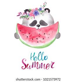 Cute watercolor panda in floral wreath eating watermelon. Hello summer card