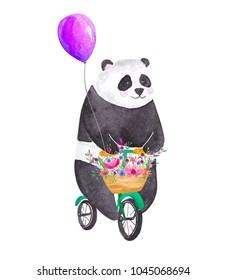 Cute watercolor panda riding bicycle