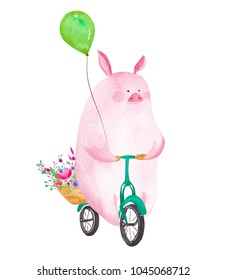 Cute watercolor pig riding bicycle