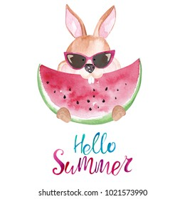 Cute watercolor rabbit in sunglasses eating watermelon. Hello summer card
