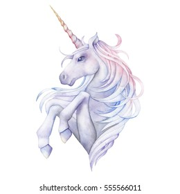 Cute watercolor unicorn in pastel colors. Hand drawn fantasy art isolated on white background