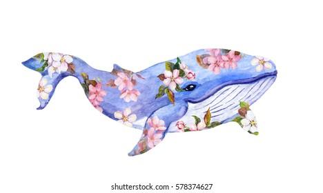 Cute whale in flowers. Watercolor