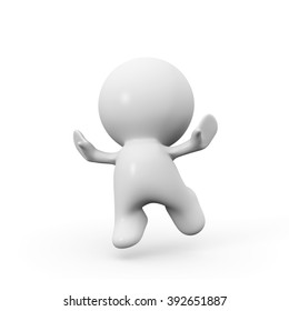 cute white 3d person is jumping for joy and happiness