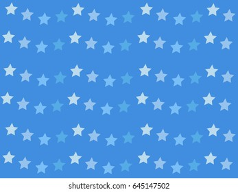 Cute white and blue stars pattern on blue background