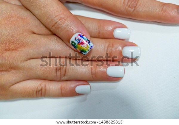 Cute White Gel Nail Design On Stock Photo (Edit Now) 1438625813