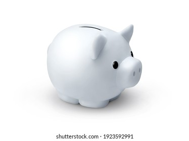 Cute white porcelaine piggy bank isolated on white background