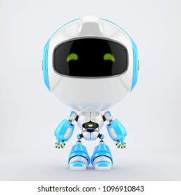Cute white-blue robot toy, 3d rendering
