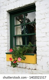 A cute window with flowers in a planter box