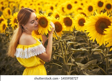 Cute woman in a blossoming sunflower field in a yellow dress. rural happy life