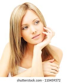 Cute woman with clean skin - female beauty