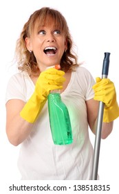 Cute woman with cleaning equipment, working. Wearing a white shirt with yellow gloves. White background.