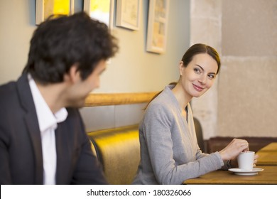 Cute Woman flirting with a man In Bar, restaurant