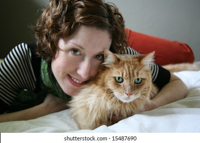 Cute Woman with her Cat