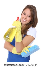 A cute woman maid cleaner with sponge and spray