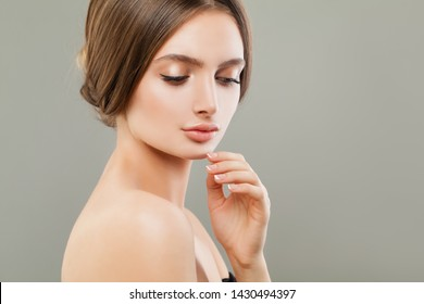 Cute woman portrait, skincare and facial treatment concept