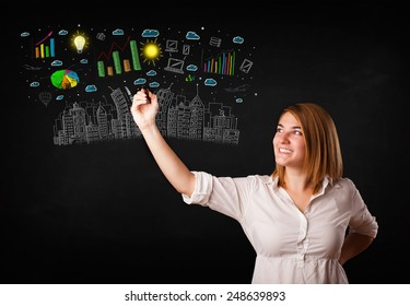 Cute woman sketching city and graph icons and symbols