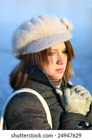 Cute woman in winter clothing