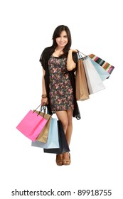 cute Young  asian Woman with Shopping Bags in isolated white background