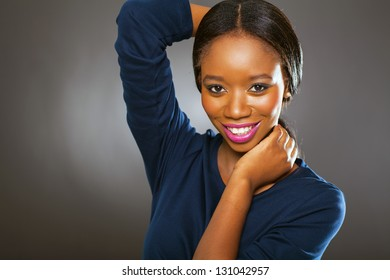 cute young black woman studio portrait