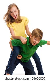 A cute young boy and girl playing.