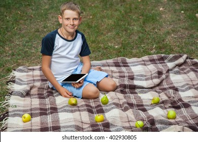 Cute young caucasian kid with freckles on his face in blue shorts and white and blue T-shirt holding tablet, siting on plaid, looking at camera in park and smiling.