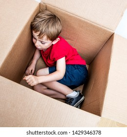 cute young child resting, playing in a cardboard box for imagination, protection, new home while moving day