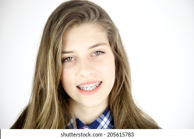 Cute young female teenager smiling closeup